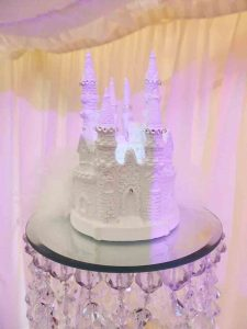Decorative wedding cake in the style of a castle