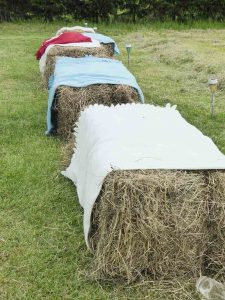 Farm wedding seating - hay bales