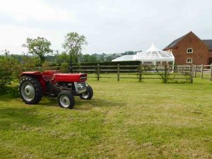 Tractor at wedding venue