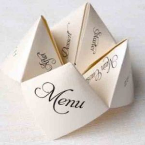 Folded paper calligraphy wedding menu