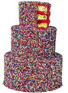 Sprinkles laden crazy wedding cake