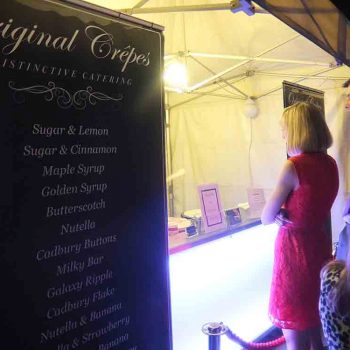 Mobile crepe stand at Cheshire wedding